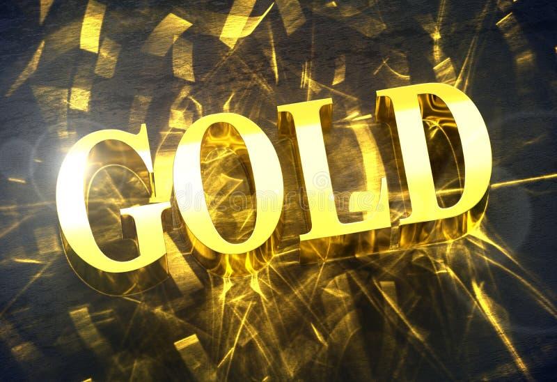 GULD- `-ord för guld- ` med småelakt ljus vektor illustrationer