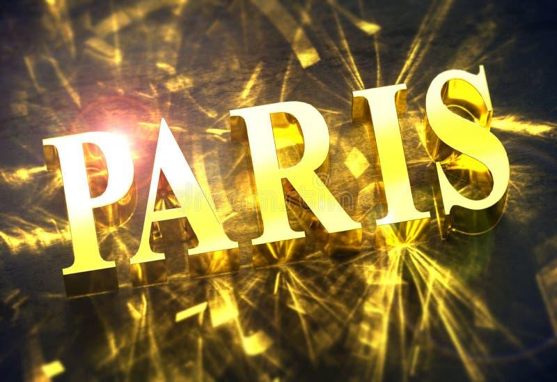 Guld- ord för `-PARIS ` med småelakt ljus royaltyfri illustrationer