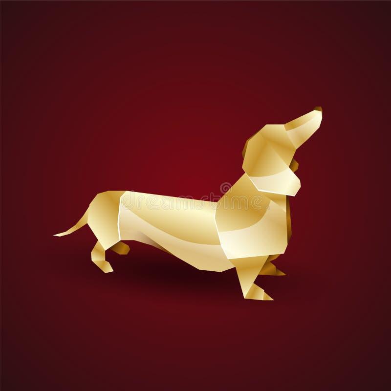 Guld- origamihund för vektor tax vektor illustrationer