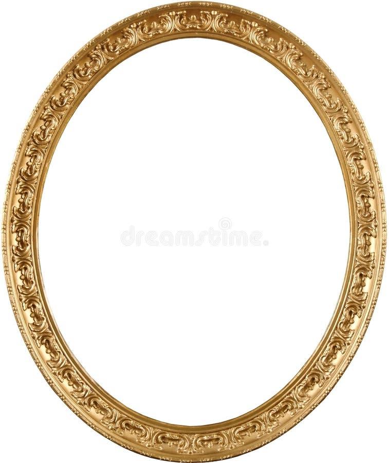 guld- oval bild för ram arkivbild