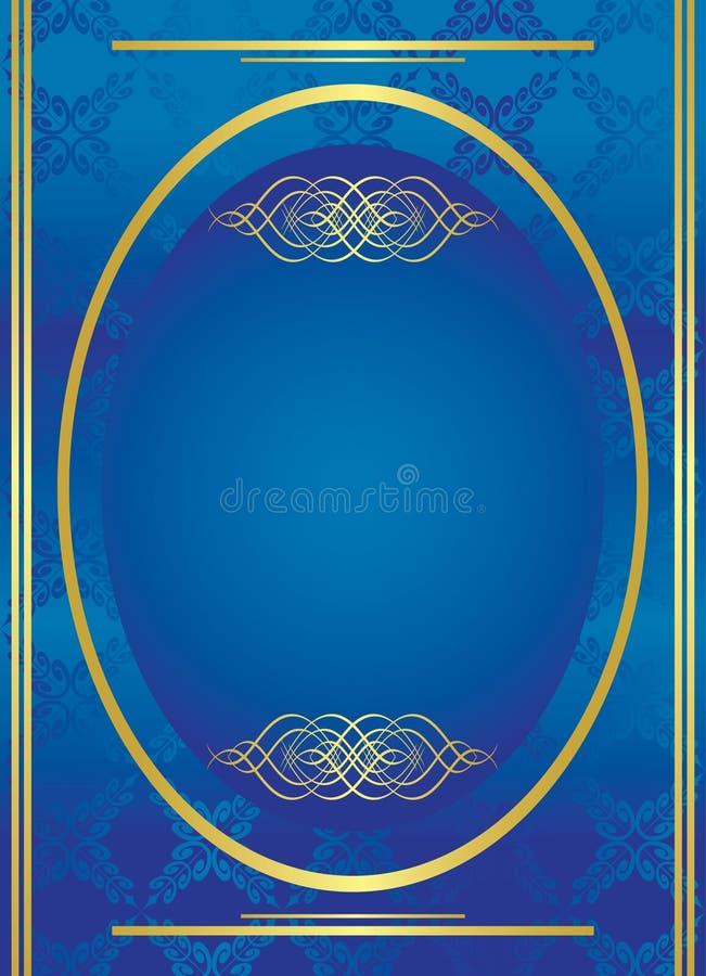 guld- oval vektor för blå ram royaltyfri illustrationer