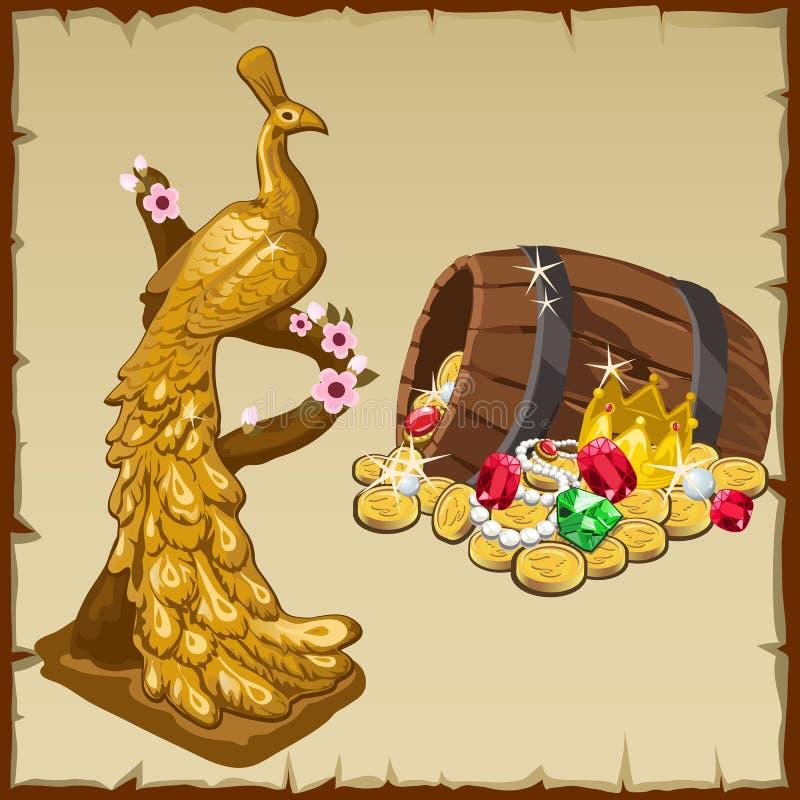Guld- påfågelstatyett och kunglig personskatter stock illustrationer