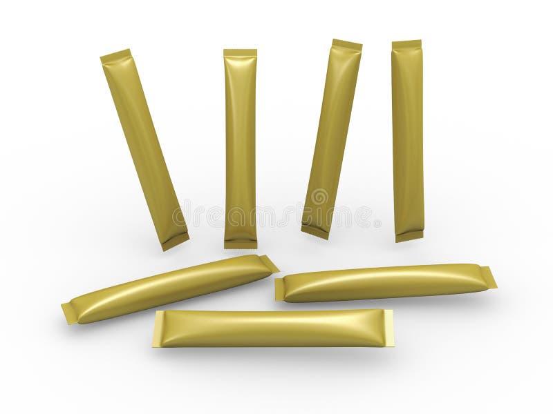 Guld- påse för pappers- påse med den snabba banan vektor illustrationer