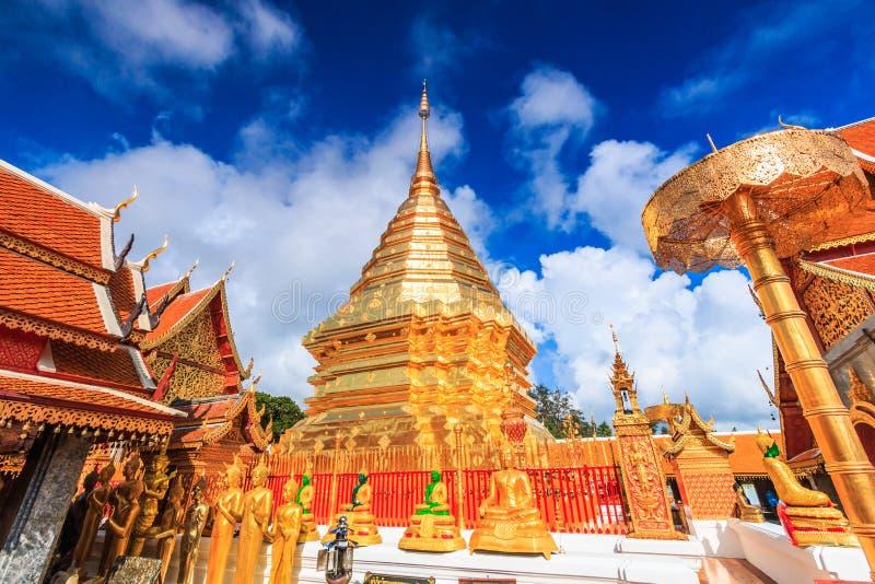 Guld- pagod på Wat Phra That Doi Suthep, Thailand arkivfoto