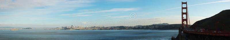 guld- panorama san för brofrancisco port fotografering för bildbyråer
