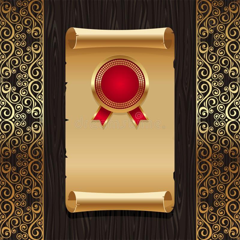 guld- paper scrollskyddsremsatappning stock illustrationer