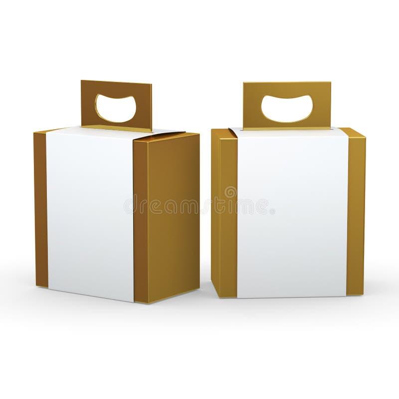 Guld- pappers- ask med den vita sjalen och handtaget som förpackar, fästa ihop som är passande royaltyfri illustrationer