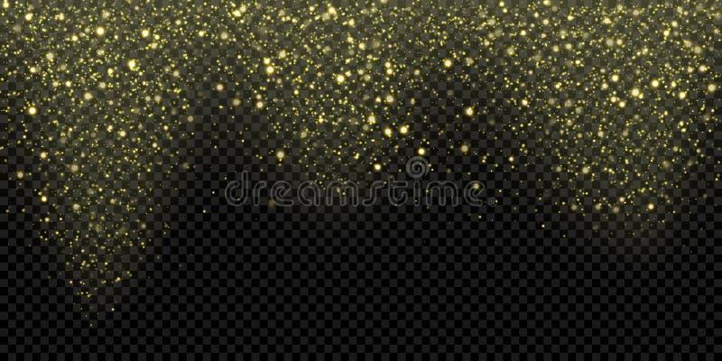 Guld- partiklar eller fallande vektorbakgrund för snö, mousserande snöfall av att blänka guld- snöflingor Att glöda för vektor bl royaltyfri illustrationer