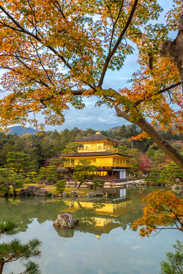 Guld- paviljong Kinkakuji arkivbilder