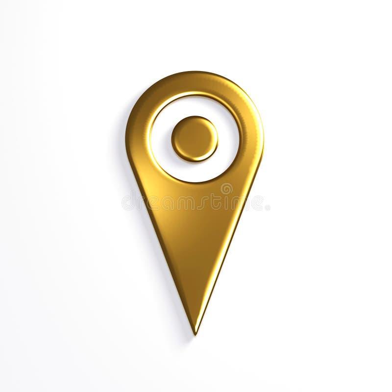 Guld- pekare Pin Icon för översikt illustrationen 3d framför vektor illustrationer