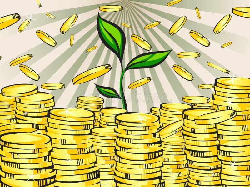 Guld- pengarbuntar med den gröna grodden av rikedomträdet coins dollareuroguld Retro vektorillustration av den glänsande rikedome stock illustrationer