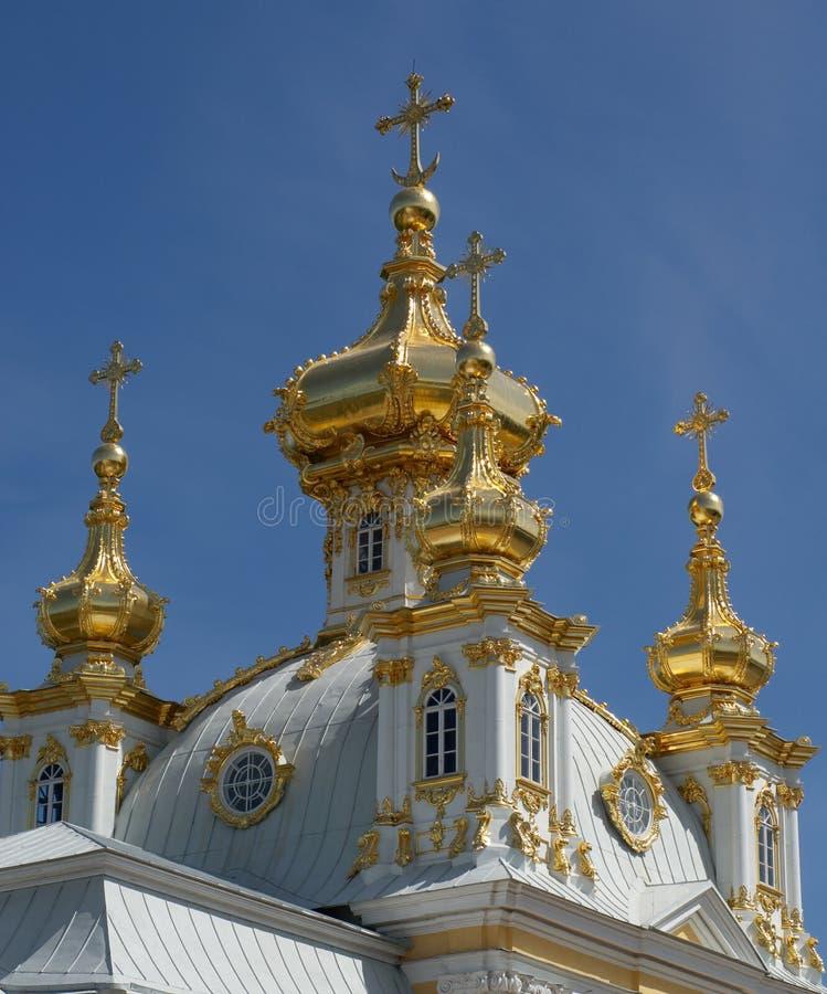guld- peterhof för cupolas royaltyfri bild