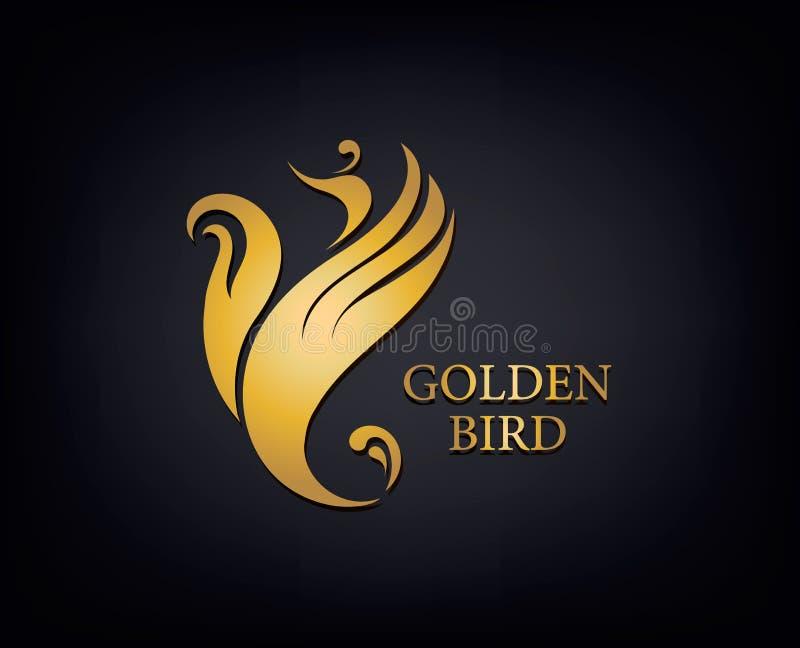 Guld- Phoenix, fågelmärket, den djura logoen, den lyxiga märkesidentiteten för hotellmode och sportar brännmärker begrepp för des royaltyfri illustrationer