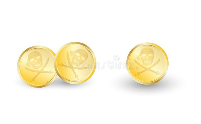 Guld- piratkopiera myntet på en vit bakgrund vektor illustrationer