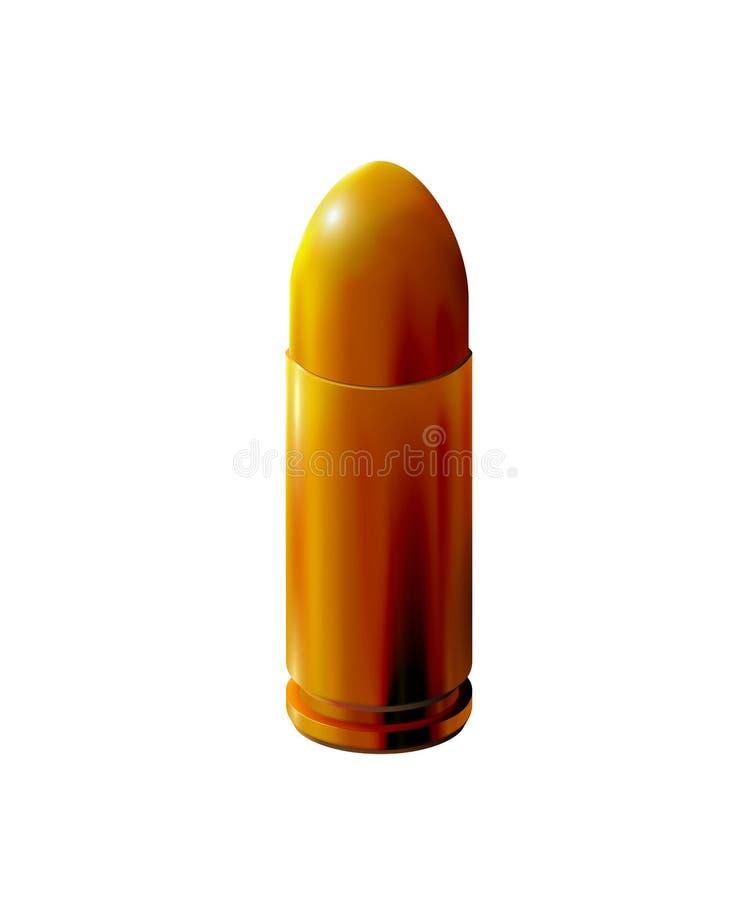 Guld- pistolkassett med den isolerade kulan, realistisk guld- 3d eller m?ssings p? ljus bakgrund, f?r att avfyra, skottillustrati royaltyfri illustrationer