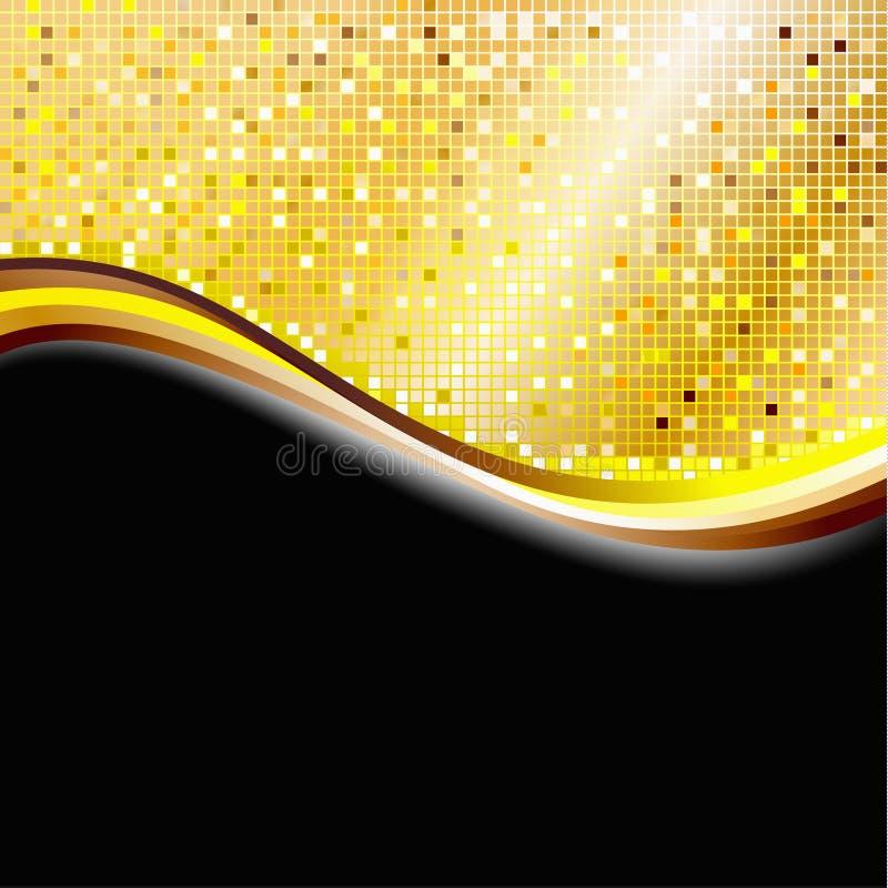 guld- PIXEL för bakgrund stock illustrationer