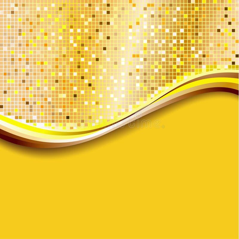 guld- PIXEL för bakgrund royaltyfri illustrationer