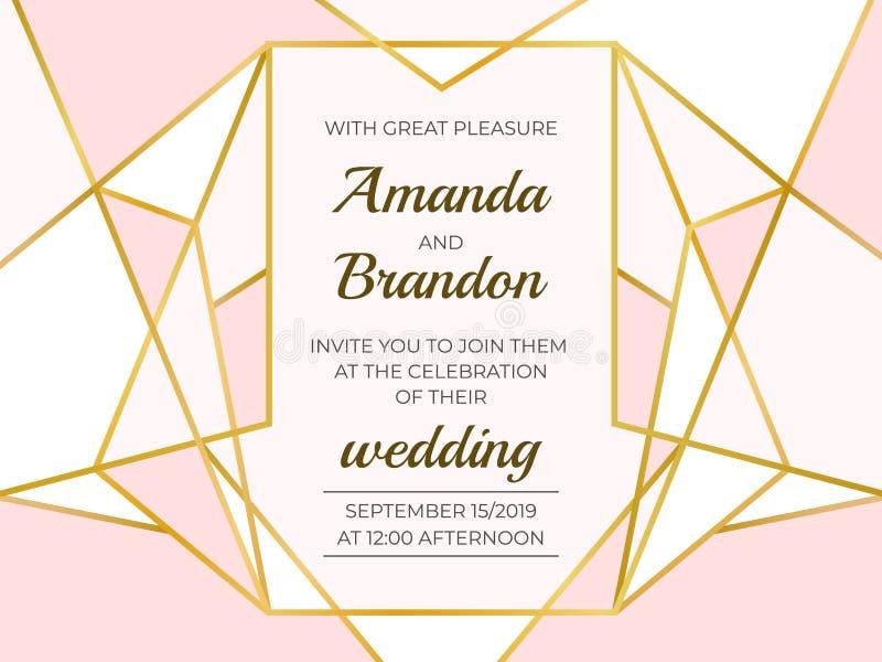 Guld- polygonal ram Elegant gifta sig inbjudangräns, linje lyxig geometrisk mall Vektorgarneringdesign stock illustrationer