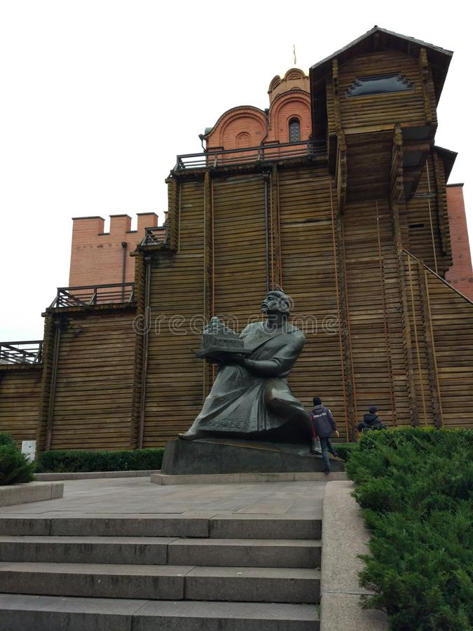 Guld- portar Kyiv Ukraina arkivfoto