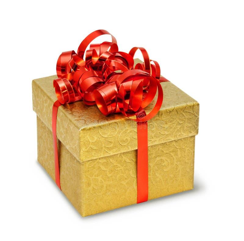 guld- present för ask royaltyfri bild