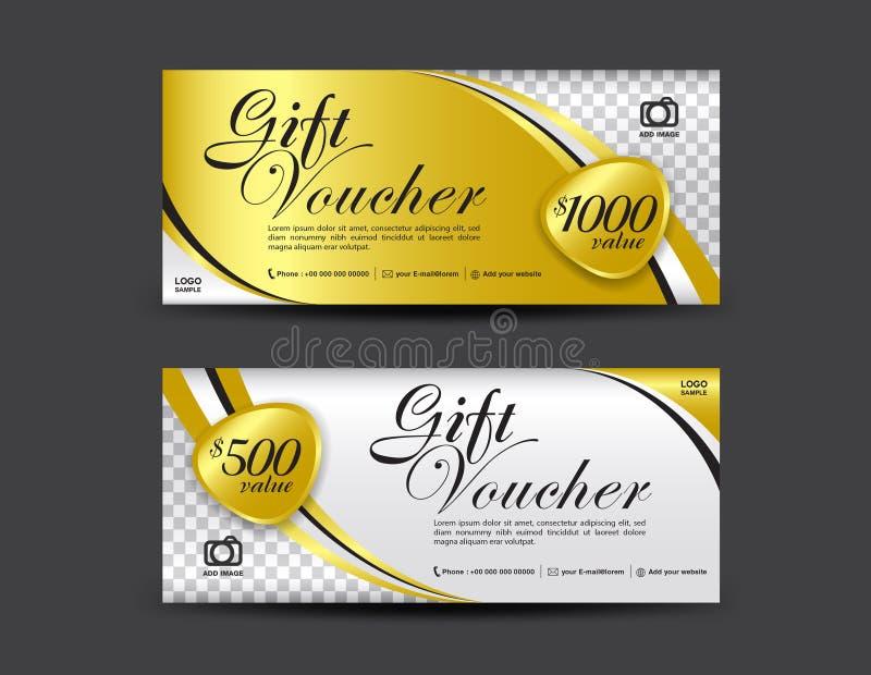 Guld- presentkortmall, kupongdesign, presentkort royaltyfri illustrationer