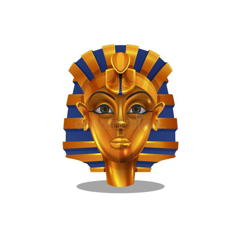 Guld- prestation för tecknad film, egyptisk isolerad pharoahkvinnastatyett stock illustrationer