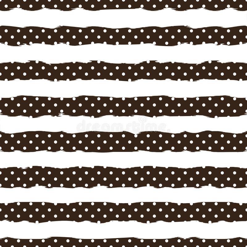 Guld- prick på moderiktig bakgrund av den sömlösa modellen för vita och svarta band Guld- foliekonfettier elegant modell stock illustrationer