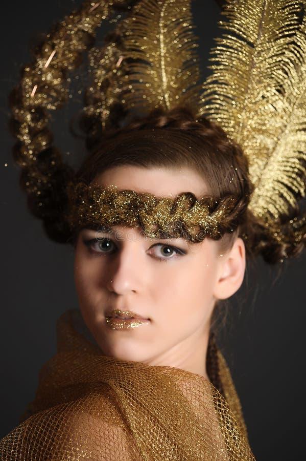 Guld- prinsessafe arkivbilder