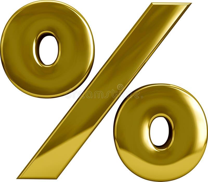 Guld- procentsats Sygn stock illustrationer