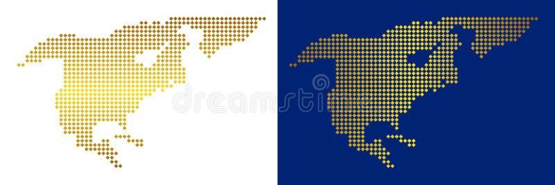 Guld prucken Nordamerika översikt stock illustrationer