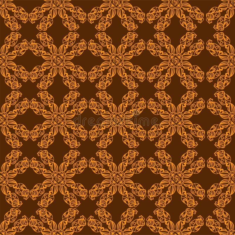 Guld- prydnad på brun bakgrund stock illustrationer