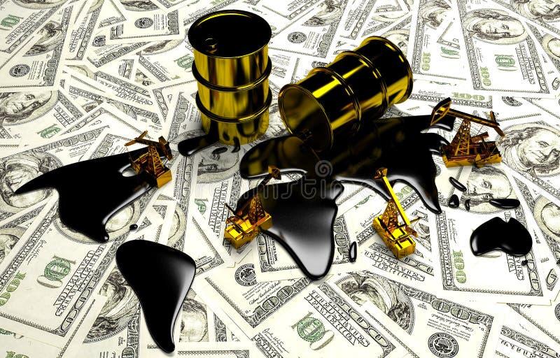 Guld- Pumpjack och spilld olja på pengarna royaltyfri illustrationer