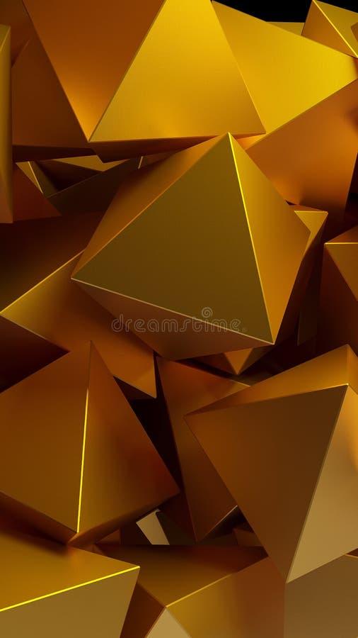 Guld- pyramider 3D illustration abstrakt bakgrund vektor illustrationer