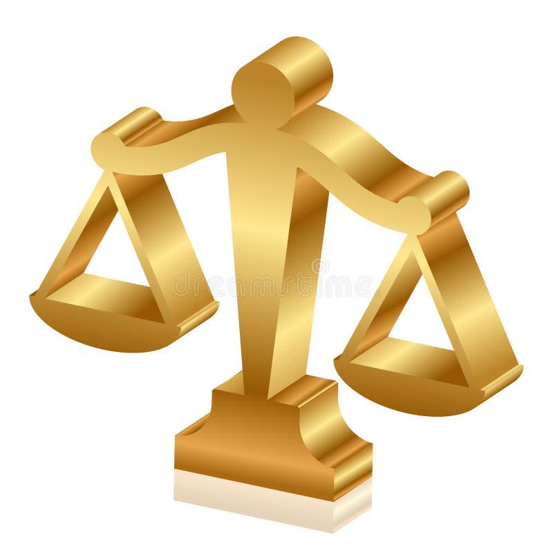 guld- rättvisascales royaltyfri illustrationer