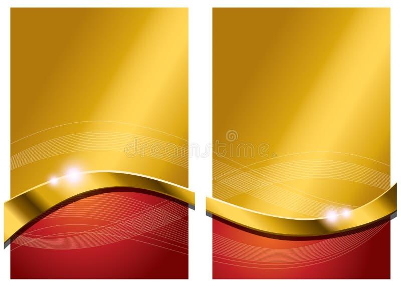 Guld- röd abstrakt bakgrund royaltyfri illustrationer