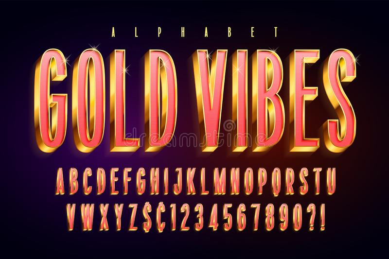 Guld- röd glansig stilsort 3d, guld- bokstäver och nummer stock illustrationer