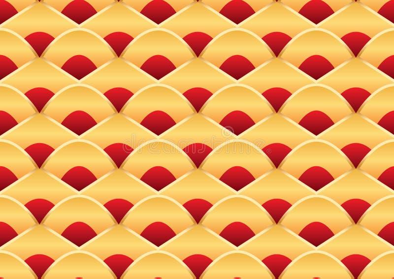 Guld- röd sömlös modell för Dragon Boat Festival stil stock illustrationer