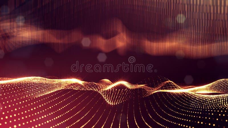 Guld- röda partiklar bildar linjen och ytbehandlar raster mikrokosm eller utrymme sciencebakgrund för tolkning 3d av att glöda arkivfoton