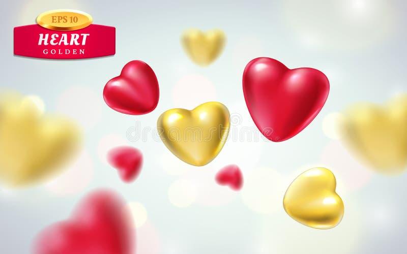 Guld- röda realistiska hjärtor på ljus bakgrund illustration för vektor 3d av lyxig hjärtaform i olika sikter vektor illustrationer
