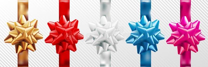 Guld- rött, silver, blå rosa gåvapilbåge ställ in med det vertikala bandet bakgrund isolerad white också vektor för coreldrawillu stock illustrationer