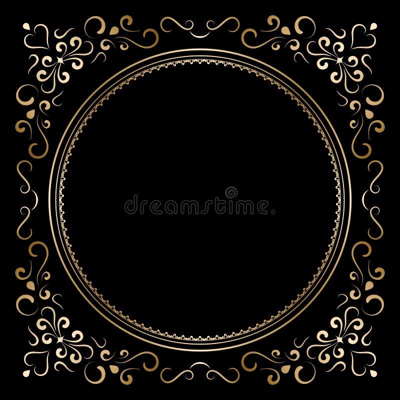 Guld- ram royaltyfri illustrationer