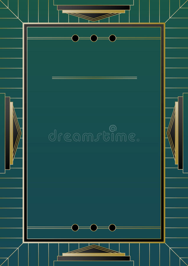Guld- ram Art Deco Background vektor illustrationer