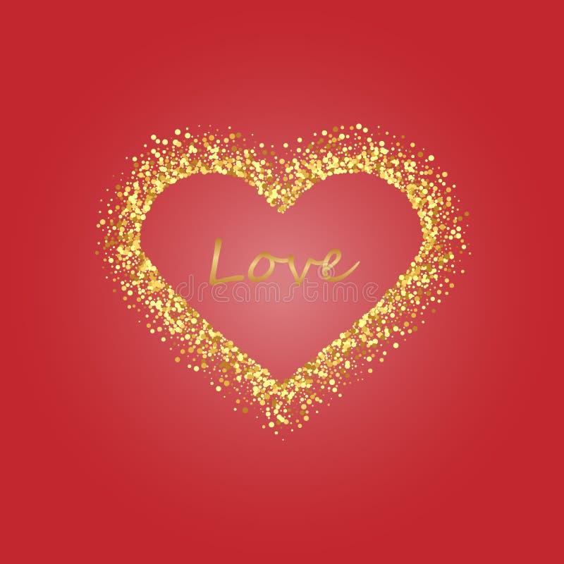 Guld- ram av scatterkonfettier i formen av hjärta Gränsa designbeståndsdelen för det festliga banret, hälsningkortet, vykort stock illustrationer