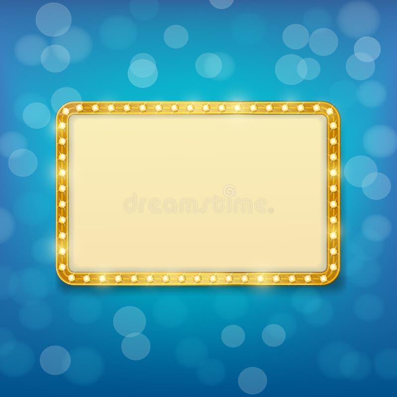 Guld- ram för bio med ljusa kulor på blå bakgrund royaltyfri illustrationer