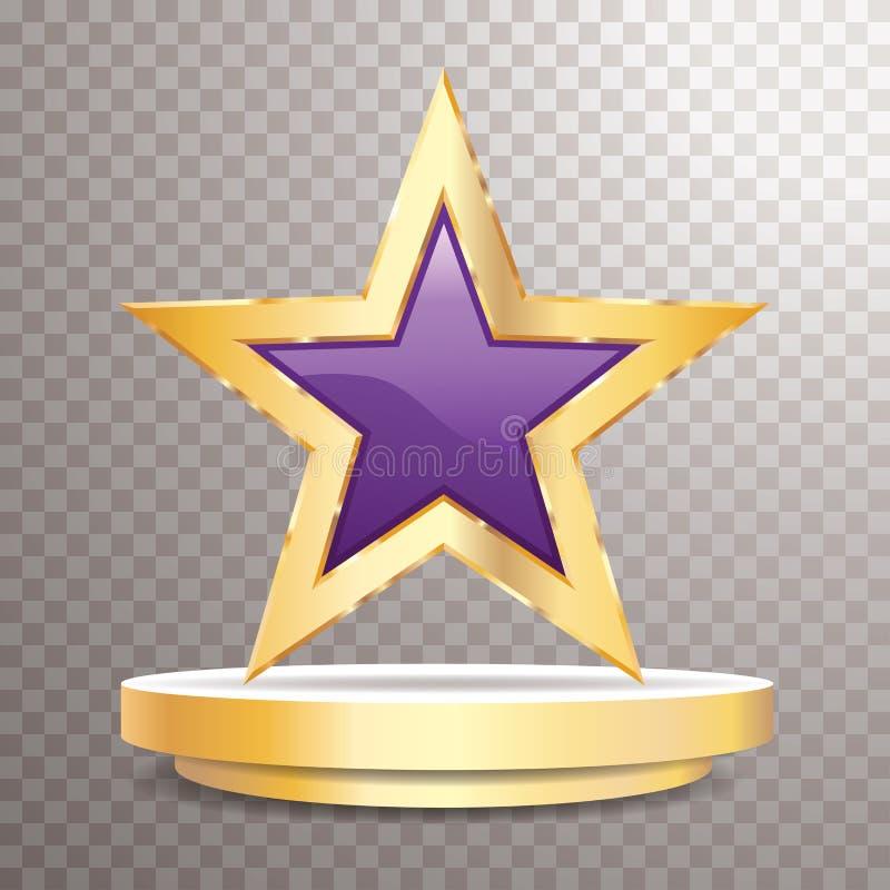 Guld- ram för purpurfärgad stjärna royaltyfri illustrationer