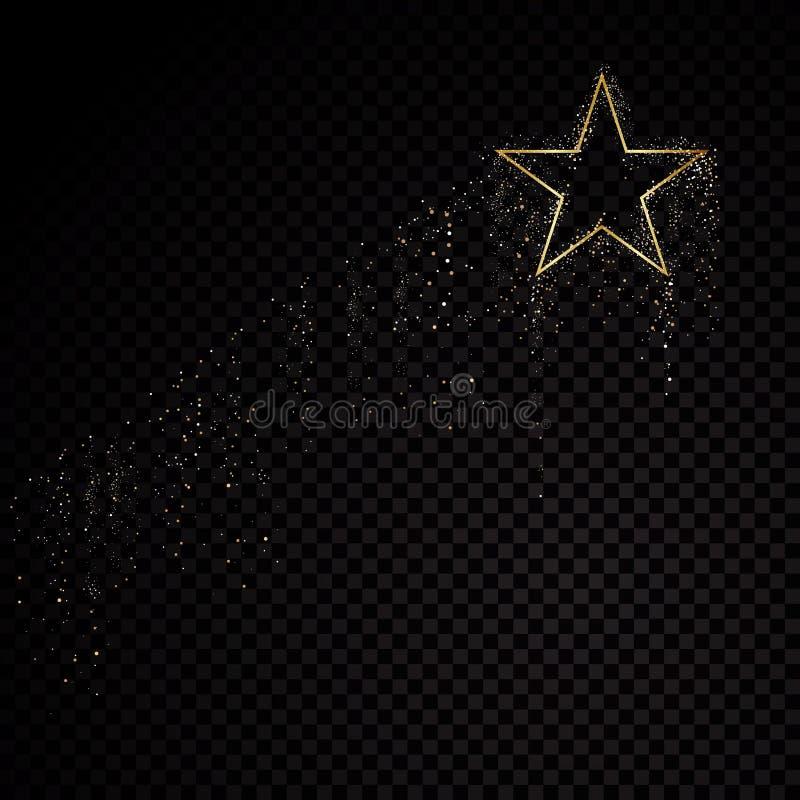 Guld- ram för stjärnagnistrande Isolerat på svart genomskinlig bakgrund också vektor för coreldrawillustration vektor illustrationer