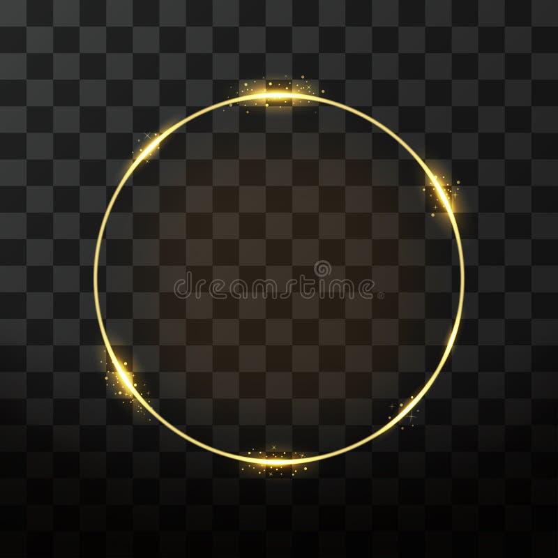 Guld- ram för vektor med glödeffekt Neoncirkelram royaltyfri illustrationer