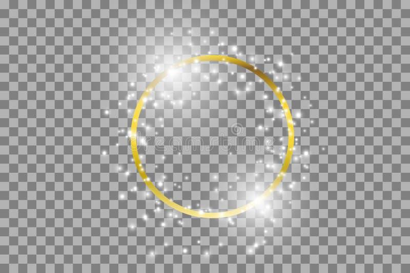 Guld- ram för vektor med ljuseffekter Glänsande rektangelbaner vektor illustrationer