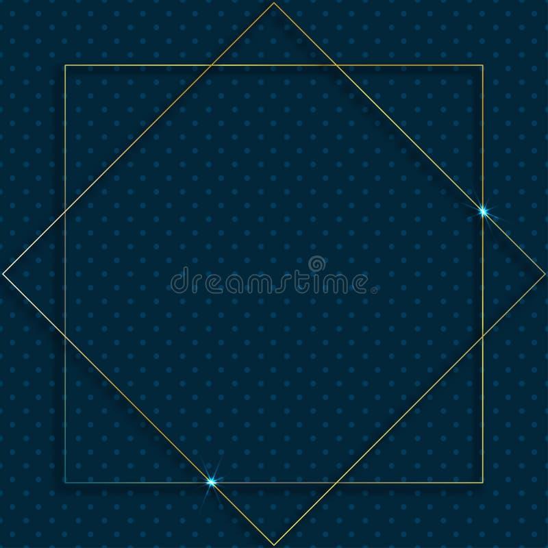 Guld- ram för vektor med ljuseffekter Glänsande rektangelbaner Isolerat på mörker - blå bakgrund royaltyfri illustrationer