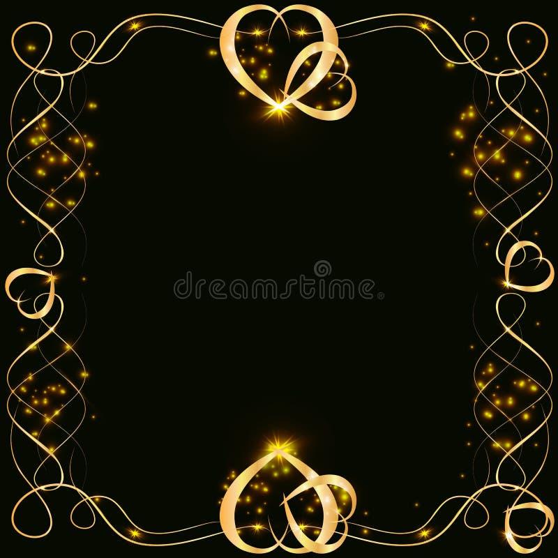Guld- ram för vektor med ljuseffekter Glänsande rektangelbaner På svart bakgrund Vektorillustration, eps 10 stock illustrationer